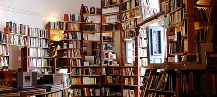 Literary heaven: books from floor to ceiling in colourful, organised chaos