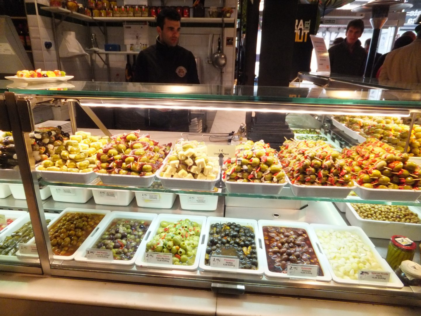 Madrid covered market olives