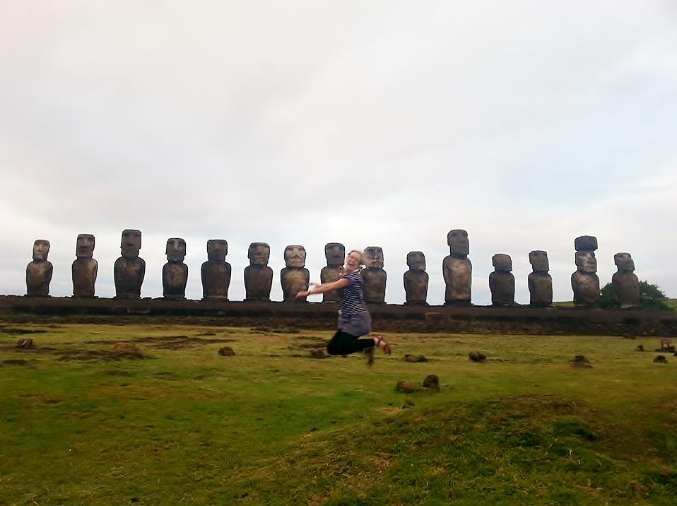 Ahu Tongariki jump Easter Island