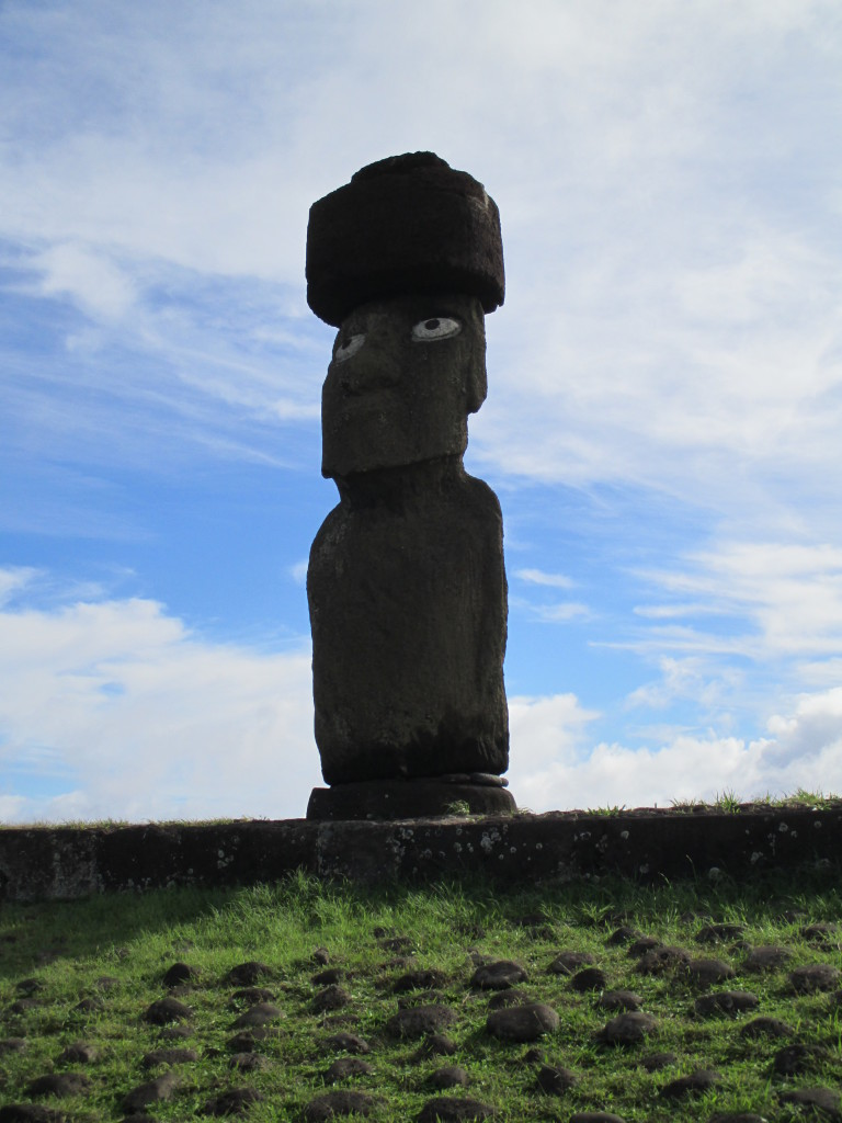 Easter Island moai with goggles