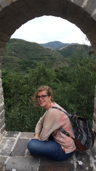 Camille in watch tower at Great Wall, Badaling