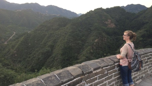 Camille admiring the landscape from the Great Wall
