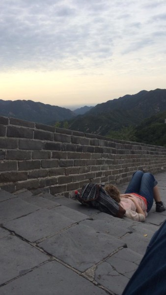 Camille napping on Great Wall, Badaling