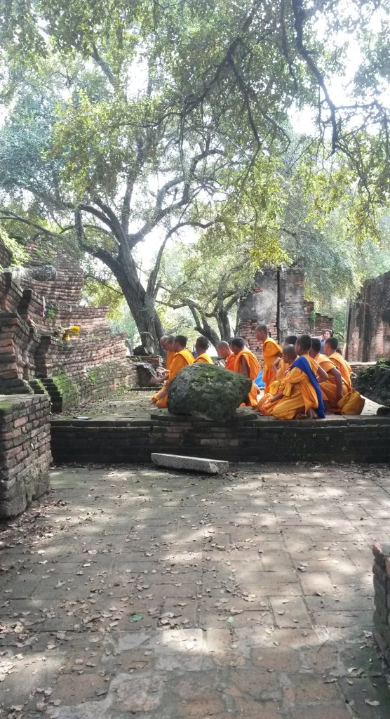 Group of monks at Wat Sri Sanphet temple, Ayutthaya, Thailand