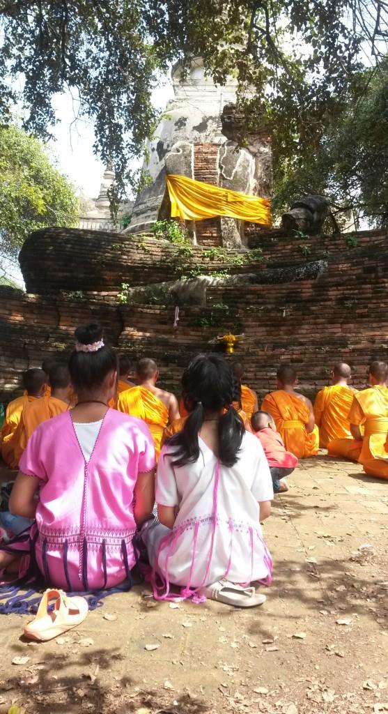 Buddhist ceremony at Wat Sri Sanphet temple, Ayutthaya, Thailand