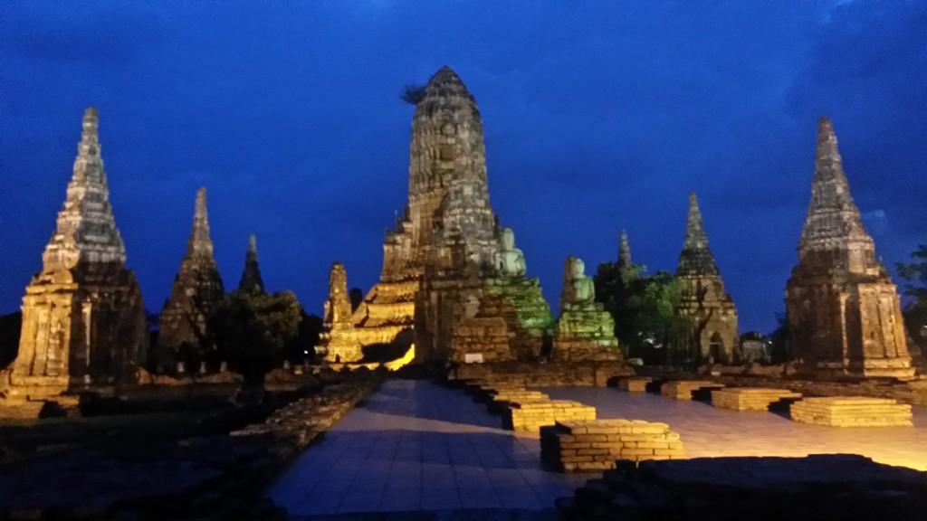 Wat Chaiwatthanaram lit up at night in Ayutthaya, Thailand