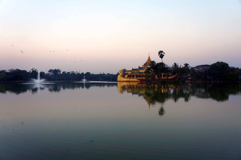 Yangon Kandawgyi Lake Royal Barge sunset