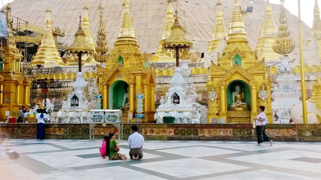 Shrines and altars at Shwedagon Pagoda, Yangon