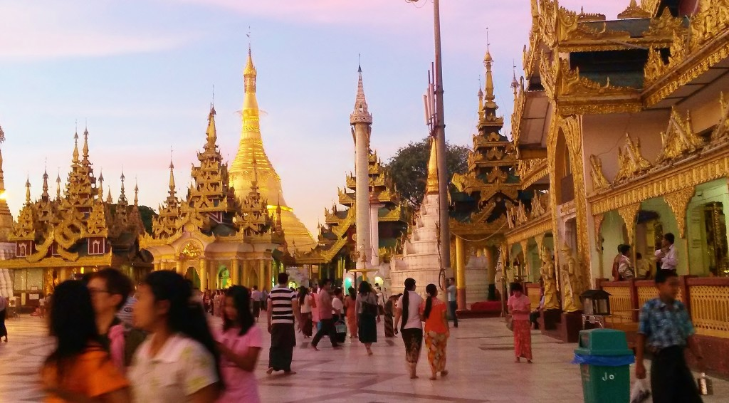 Pink dusk light on Shwedagon Pagoda, Yangon