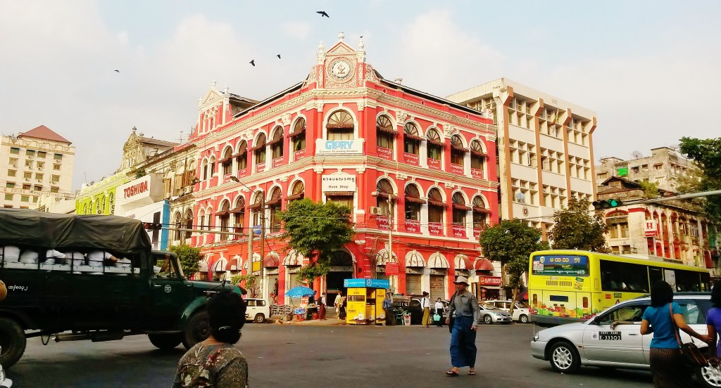 Colourful colonial buildings in Yangon