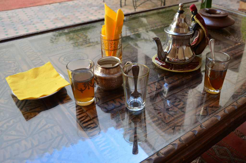 Mint tea drinking set in Morocco