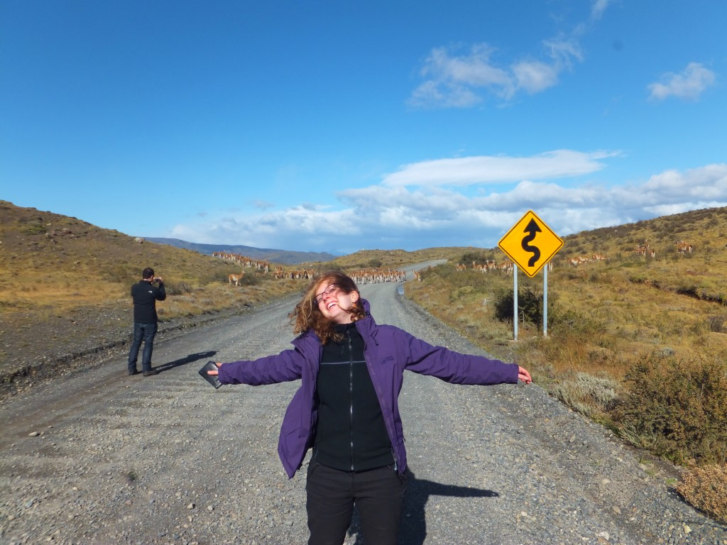 Camille standing in the wind in Chile's Torres del Paine National Park