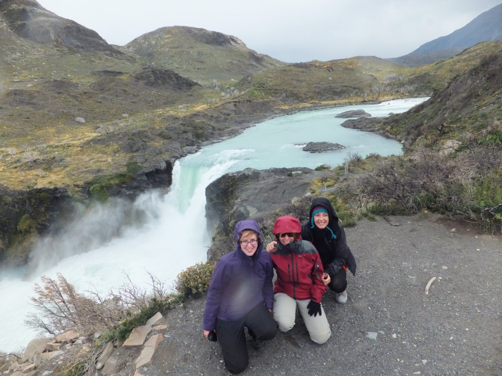 Posing in front of Torres del Paine waterfall