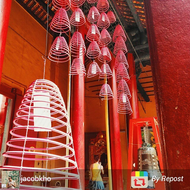 Red Buddhist temple in Kuala Lumpur's Chinatown, Malaysia