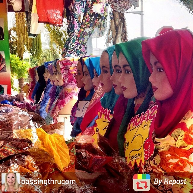 Shopping for head scarves in Kanchuan, Malaysia