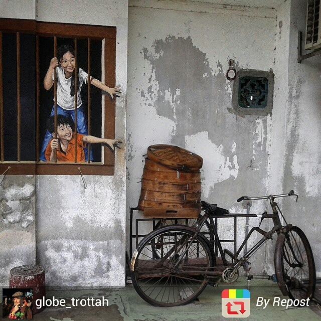 Trompe-l'oeil street art in Georgetown, Penang, Malaysia