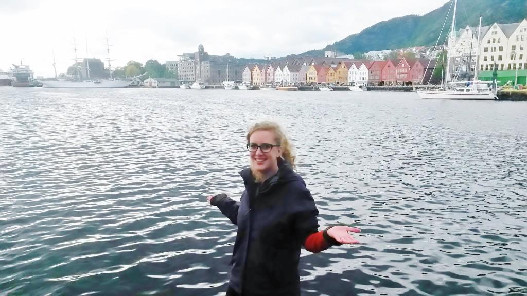 Camille in front of Bergen Bryggen wharf