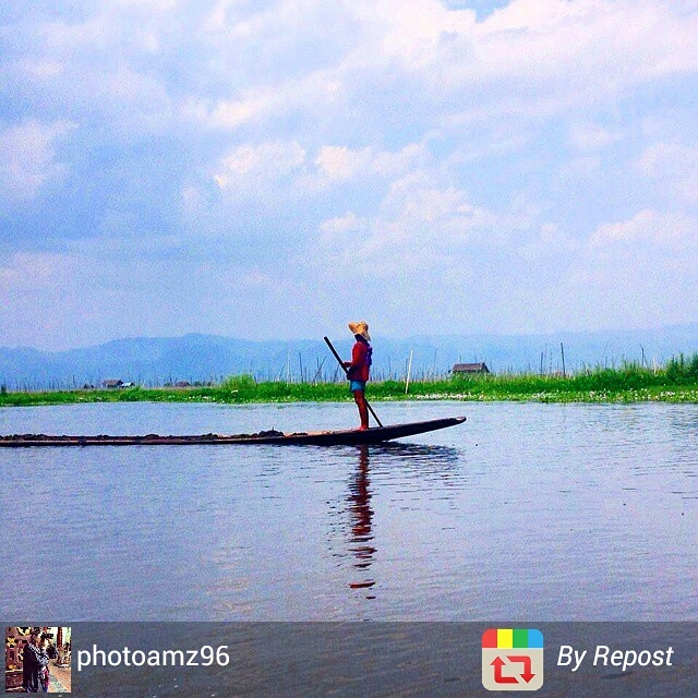 Lone fisherman on Inle Lake, Myanmar