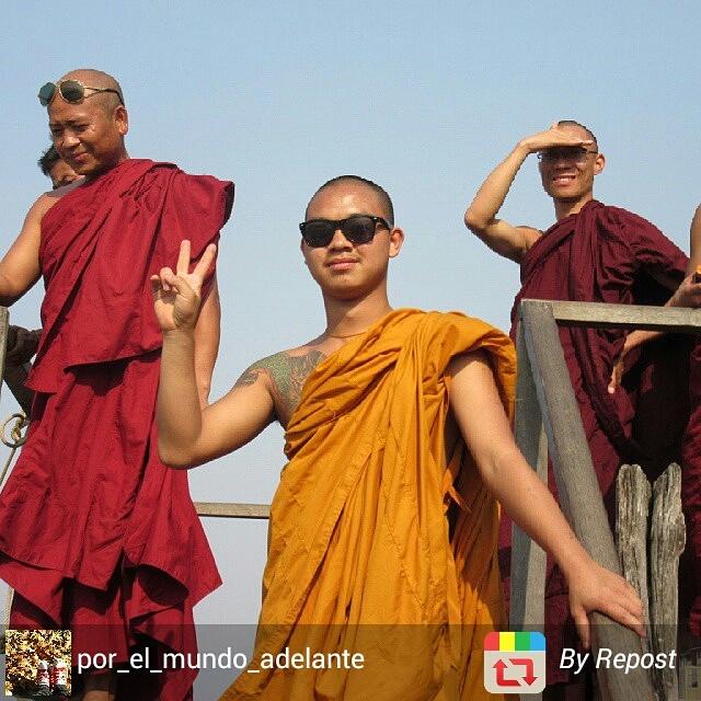Cool monks in Myanmar