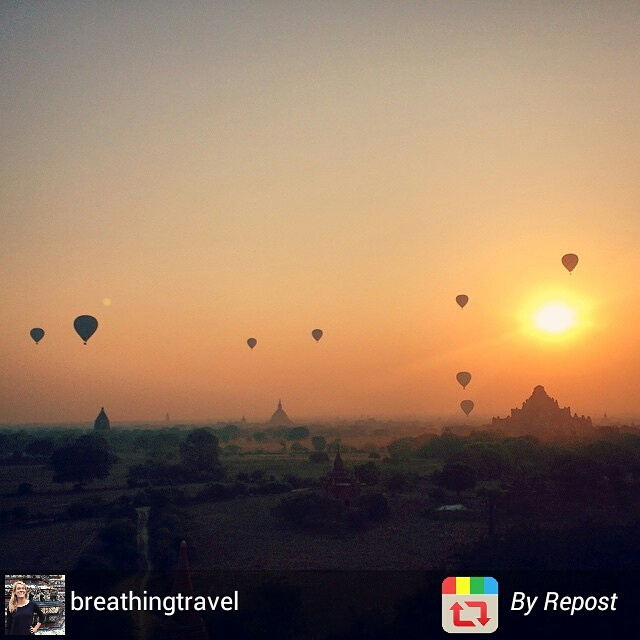 Bagan temples and hot-air balloons at sunrise