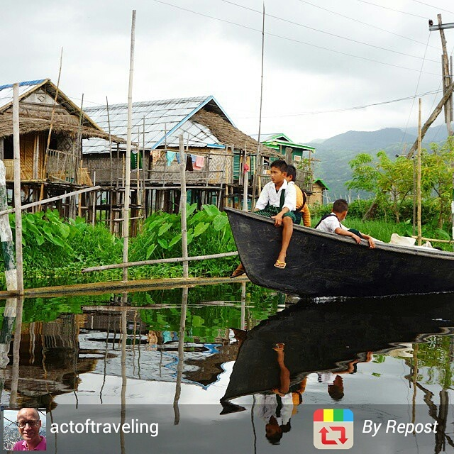 Myanmar Inle Lake children boating home