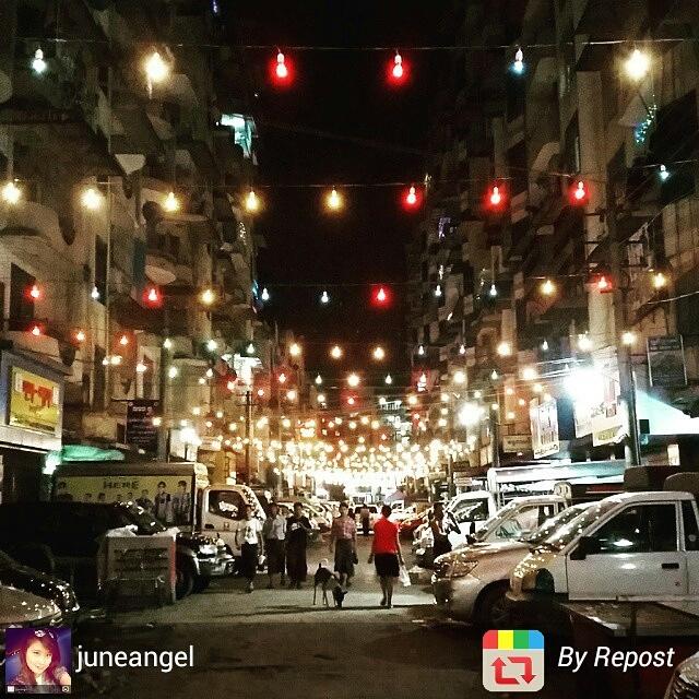 Streets of Yangon, Myanmar by night