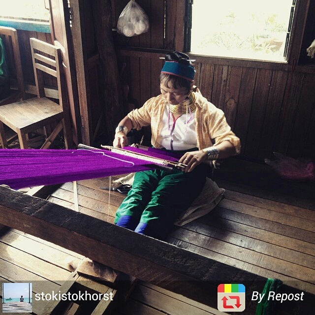 Myanmar long neck Kayan tribe woman at work