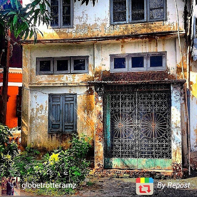 Colourful run-down house in Yangon, Myanmar