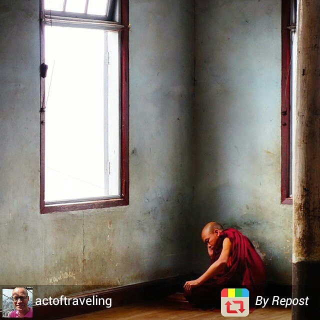 Monk punished in corner of temple during prayer, Myanmar