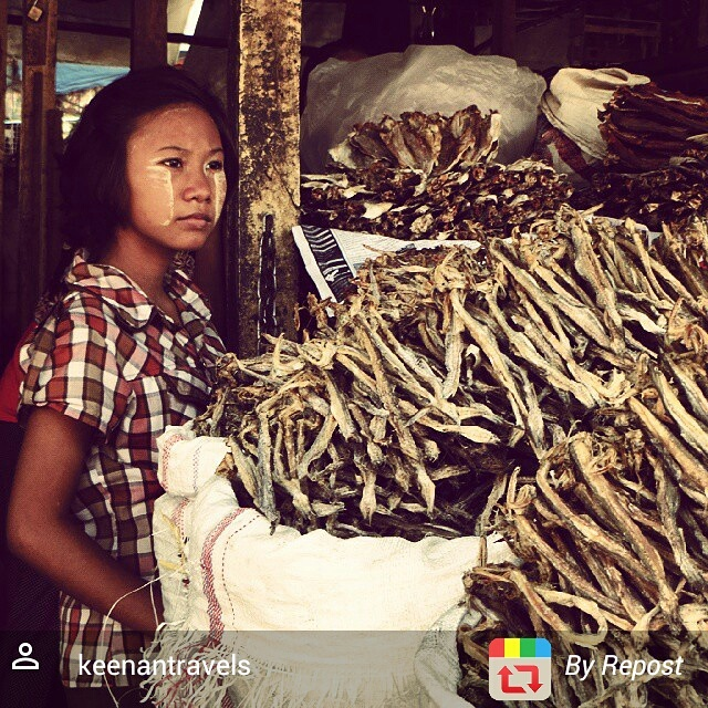 Woman selling dried fish at Mandalay market, Maynmar