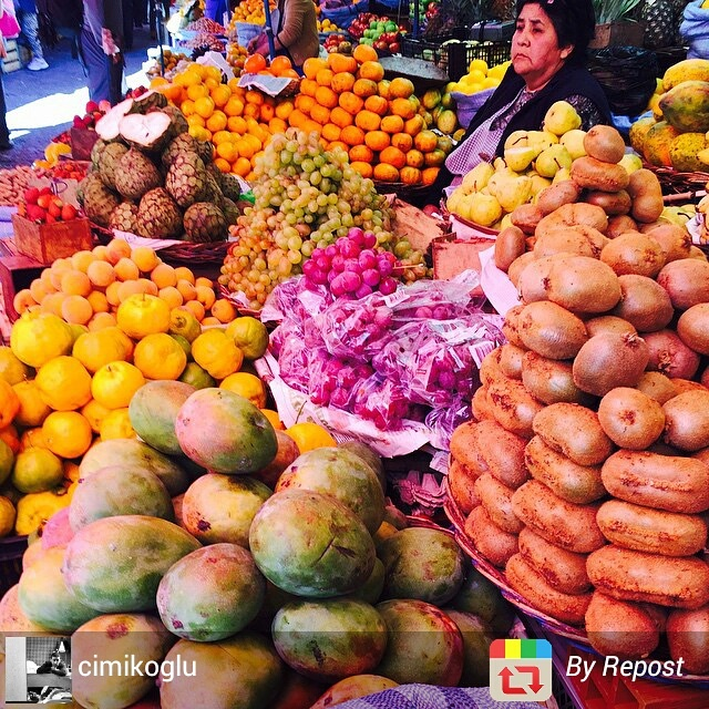 Colourful fruit market in Sucre, Bolivia