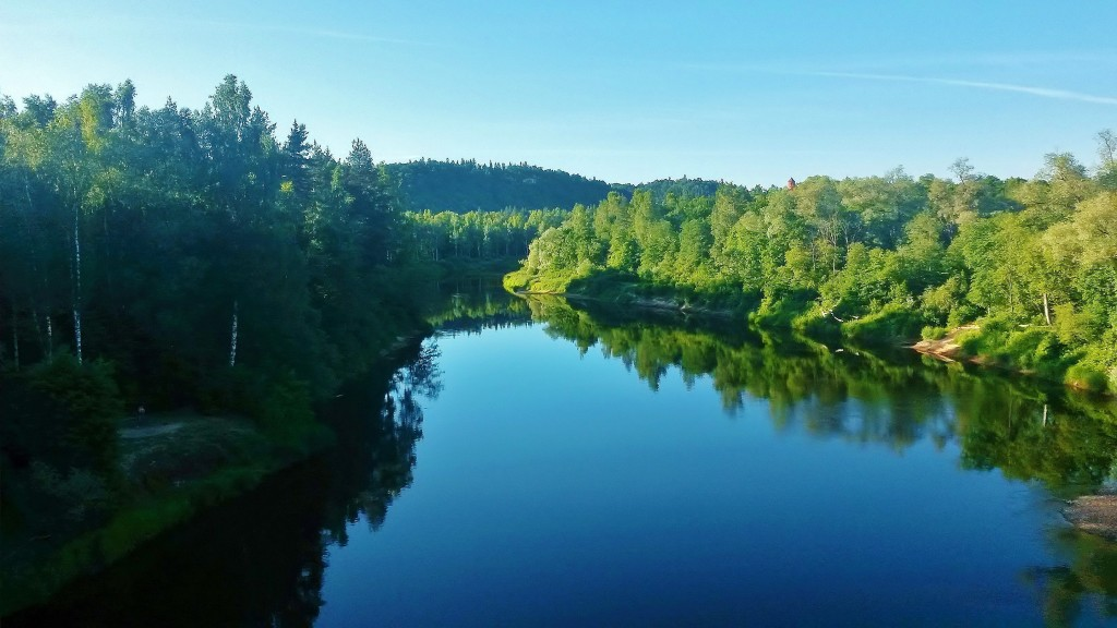 View of Gauja river from Sigulda bridge, Latvia