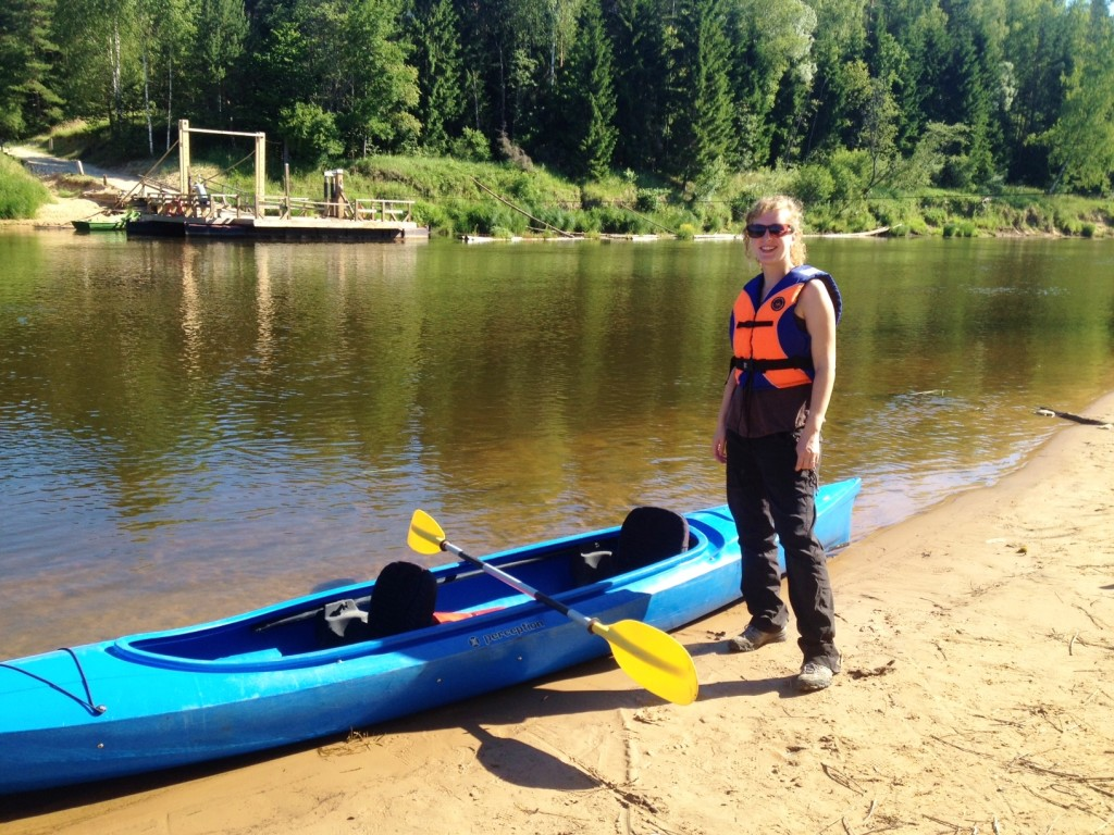Kayaking down Gauja river in Sigulda, Latvia