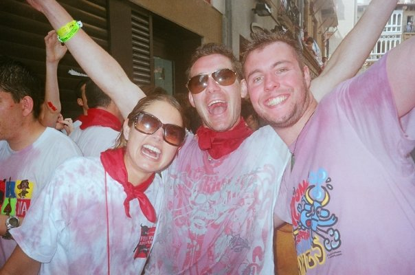 Partying at running of the bulls in Pamplona, Spain