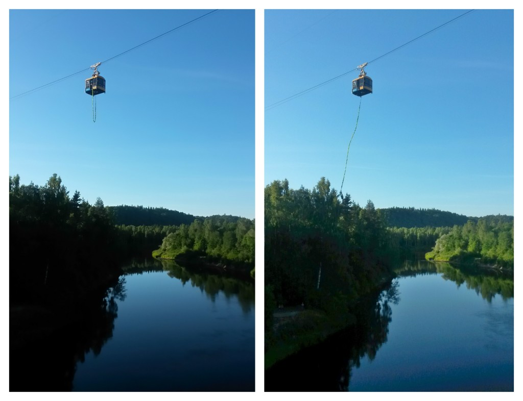 Bungee jump cable car, Sigulda, Latvia