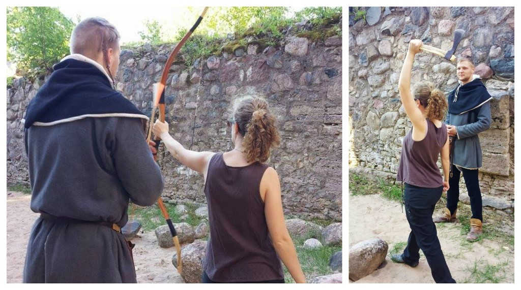 Learning to use medieval weapons in Sigulda, Latvia