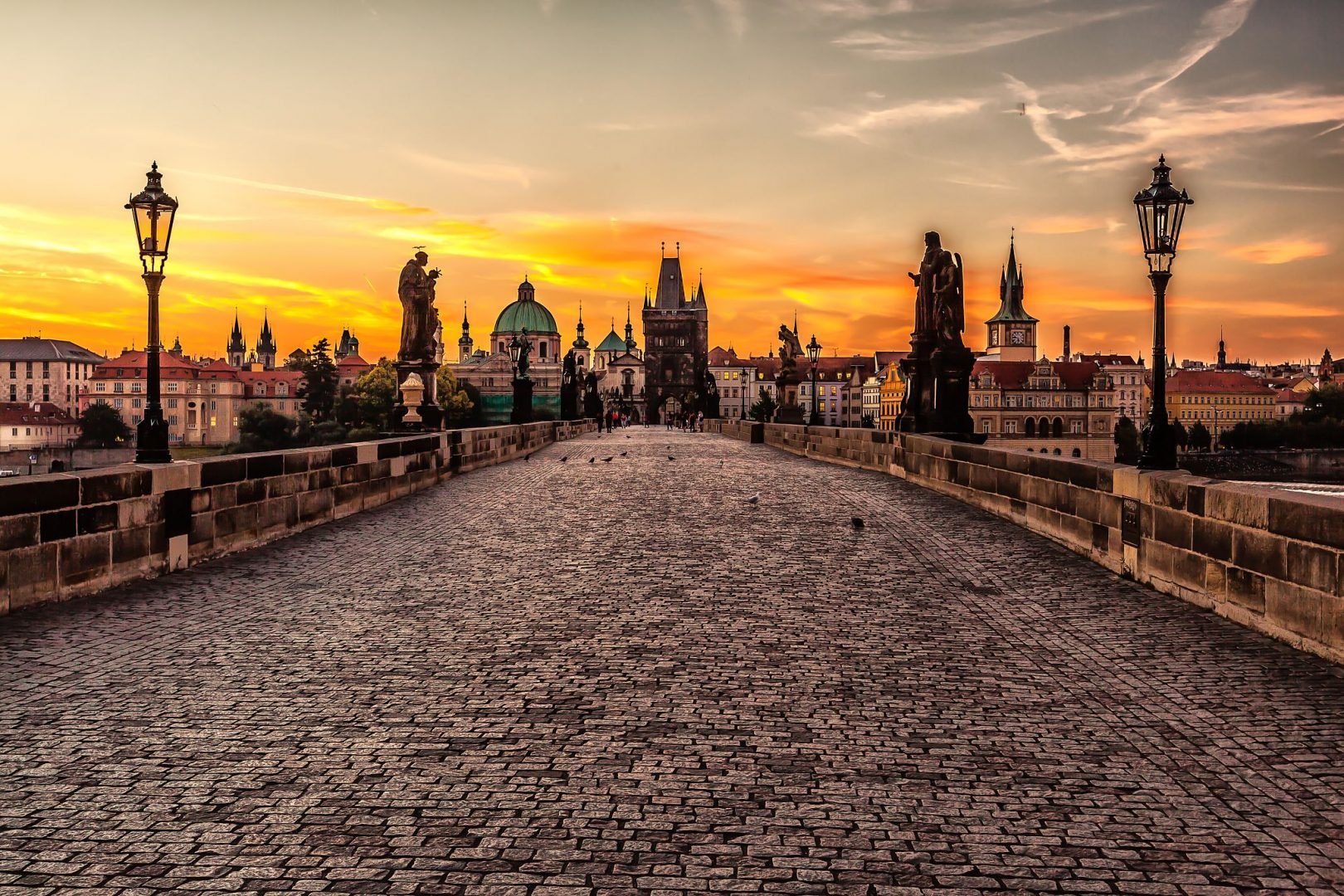 Prague sunrise autumn getaway