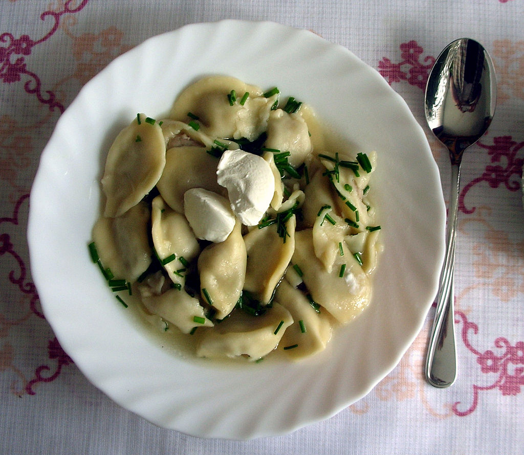 Latvian food Pelmeni ravioli